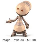 #50608 Royalty-Free (Rf) Illustration Of A 3d Robot Mascot Gesturing With His Hand - Version 1