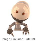 #50609 Royalty-Free (Rf) Illustration Of A 3d Robot Mascot Pointing Down And Standing Behind A Blank Sign