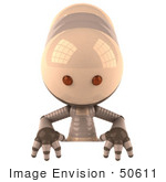 #50611 Royalty-Free (Rf) Illustration Of A 3d Robot Mascot Standing Behind A Blank Sign