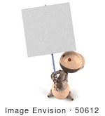 #50612 Royalty-Free (Rf) Illustration Of A 3d Robot Mascot Holding Up A Blank Sign - Version 3
