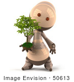 #50613 Royalty-Free (Rf) Illustration Of A 3d Robot Mascot Holding A Plant - Version 2