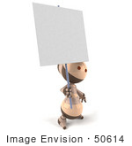#50614 Royalty-Free (Rf) Illustration Of A 3d Robot Mascot Holding Up A Blank Sign - Version 2