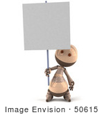 #50615 Royalty-Free (Rf) Illustration Of A 3d Robot Mascot Holding Up A Blank Sign - Version 1