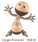 #50616 Royalty-Free (Rf) Illustration Of A 3d Robot Mascot Jumping - Version 1