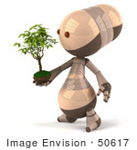 #50617 Royalty-Free (Rf) Illustration Of A 3d Robot Mascot Holding A Plant - Version 1