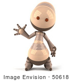 #50618 Royalty-Free (Rf) Illustration Of A 3d Robot Mascot Waving
