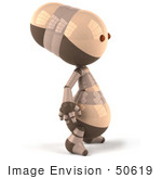#50619 Royalty-Free (Rf) Illustration Of A 3d Robot Mascot Facing Right