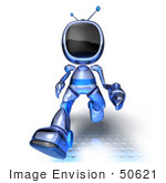 #50621 Royalty-Free (Rf) Illustration Of A 3d Blue Human Like Robot Mascot Running Forward - Version 3