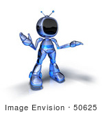 #50625 Royalty-Free (Rf) Illustration Of A 3d Blue Human Like Robot Mascot Shrugging - Version 5