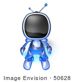 #50628 Royalty-Free (Rf) Illustration Of A 3d Blue Human Like Robot Mascot Standing And Facing Front - Version 3