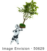 #50629 Royalty-Free (Rf) Illustration Of A 3d Female Robot Mascot Flying With A Plant Over Her Head