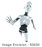 #50630 Royalty-Free (Rf) Illustration Of A 3d Female Robot Mascot Reaching Outward - Version 1