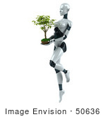 #50636 Royalty-Free (Rf) Illustration Of A 3d Female Robot Mascot Carrying A Plant - Version 1