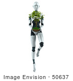 #50637 Royalty-Free (Rf) Illustration Of A 3d Female Robot Mascot Carrying A Plant - Version 2
