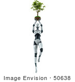 #50638 Royalty-Free (Rf) Illustration Of A 3d Female Robot Mascot Holding A Plant Over Her Head