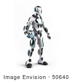 #50640 Royalty-Free (Rf) Illustration Of A 3d Athletic Male Robot Mascot Standing And Holding A Blue Soccer Ball - Version 2