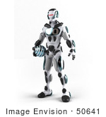 #50641 Royalty-Free (Rf) Illustration Of A 3d Athletic Male Robot Mascot Standing And Holding A Blue Soccer Ball - Version 1