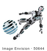#50644 Royalty-Free (Rf) Illustration Of A 3d Athletic Male Robot Mascot Kicking A Blue Soccer Ball - Version 2