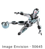 #50645 Royalty-Free (Rf) Illustration Of A 3d Athletic Male Robot Mascot Kicking A Blue Soccer Ball - Version 1
