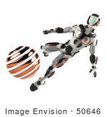 #50646 Royalty-Free (Rf) Illustration Of A 3d Athletic Male Robot Mascot Kicking An Orange Soccer Ball