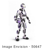 #50647 Royalty-Free (Rf) Illustration Of A 3d Athletic Male Robot Mascot Standing And Holding A Purple Soccer Ball