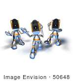#50648 Royalty-Free (Rf) Illustration Of Three 3d Speaker Robot Characters Dancing - Version 3