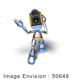 #50649 Royalty-Free (Rf) Illustration Of A 3d Speaker Robot Character Walking Forward And Gesturing - Version 2