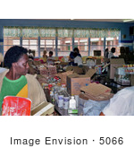 #5066 Stock Photography Of Disaster Relief Volunteers Organizing Food For The Victims Of Hurricane Hugo