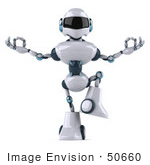 #50660 Royalty-Free (Rf) Illustration Of A 3d Futuristic Robot Mascot Meditating - Pose 2