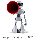 #50662 Royalty-Free (Rf) Illustration Of A 3d Futuristic Robot Mascot Using A Megaphone - Pose 1