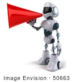#50663 Royalty-Free (Rf) Illustration Of A 3d Futuristic Robot Mascot Using A Megaphone - Pose 3