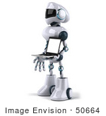 #50664 Royalty-Free (Rf) Illustration Of A 3d Futuristic Robot Mascot Carrying A Laptop - Version 2