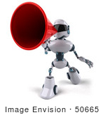 #50665 Royalty-Free (Rf) Illustration Of A 3d Futuristic Robot Mascot Using A Megaphone - Pose 4