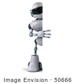 #50666 Royalty-Free (Rf) Illustration Of A 3d Futuristic Robot Mascot Holding Up A Big Blank Sign