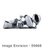 #50668 Royalty-Free (Rf) Illustration Of A 3d Futuristic Robot Mascot Relaxing