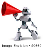 #50669 Royalty-Free (Rf) Illustration Of A 3d Futuristic Robot Mascot Using A Megaphone - Pose 2