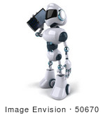 #50670 Royalty-Free (Rf) Illustration Of A 3d Futuristic Robot Mascot Using A Cell Phone - Version 1