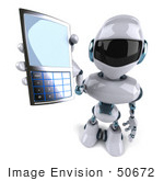 #50672 Royalty-Free (Rf) Illustration Of A 3d Futuristic Robot Mascot Using A Cell Phone - Version 2