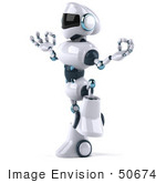 #50674 Royalty-Free (Rf) Illustration Of A 3d Futuristic Robot Mascot Standing In Meditation