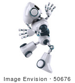 #50676 Royalty-Free (Rf) Illustration Of A 3d Futuristic Robot Mascot Leaping