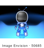 #50685 Royalty-Free (Rf) Illustration Of A 3d Blue Robot Mascot Standing And Facing Front - Version 1