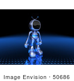 #50686 Royalty-Free (Rf) Illustration Of A 3d Blue Robot Mascot Standing And Facing Right - Version 2