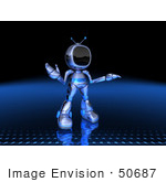 #50687 Royalty-Free (Rf) Illustration Of A 3d Blue Robot Mascot Shrugging - Version 2