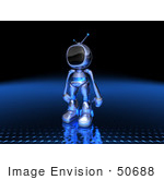#50688 Royalty-Free (Rf) Illustration Of A 3d Blue Robot Mascot Standing And Facing Left - Version 2