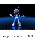 #50689 Royalty-Free (Rf) Illustration Of A 3d Blue Robot Mascot Shrugging - Version 1