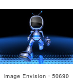 #50690 Royalty-Free (Rf) Illustration Of A 3d Blue Robot Mascot Running Forward - Version 1