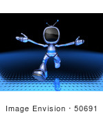 #50691 Royalty-Free (Rf) Illustration Of A 3d Blue Robot Mascot Running Forward - Version 2