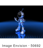 #50692 Royalty-Free (Rf) Illustration Of A 3d Blue Robot Mascot Shrugging - Version 3