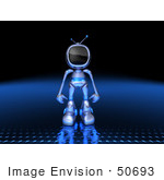 #50693 Royalty-Free (Rf) Illustration Of A 3d Blue Robot Mascot Standing And Facing Front - Version 2