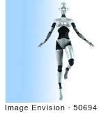 #50694 Royalty-Free (Rf) Illustration Of A 3d Female Robot Mascot Dancing - Version 1